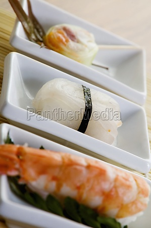 close up of sushi served in