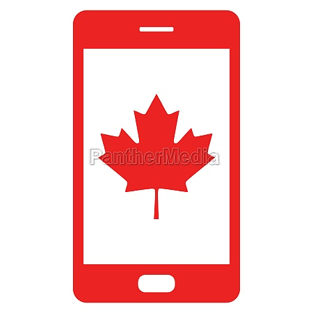maple leaf and smartphone