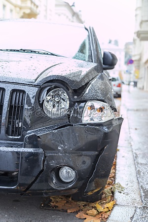 damaged car accident deformation of the