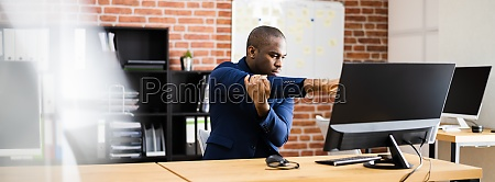 african american man doing stretch exercise