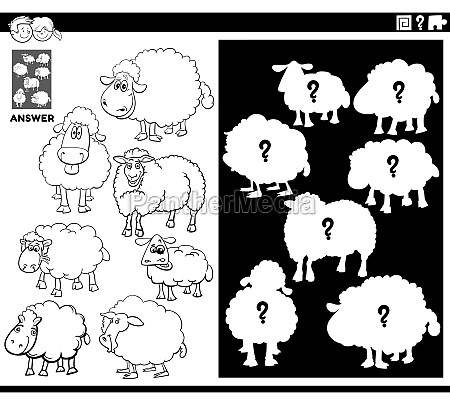 matching shapes game with sheep coloring