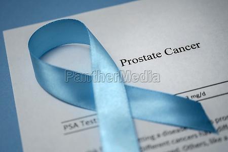 studio shot of prostate cancer document