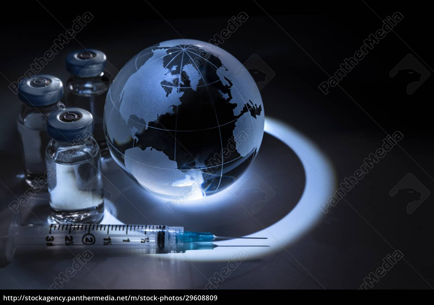 glass, globe, with, vials, and, syringe - 29608809