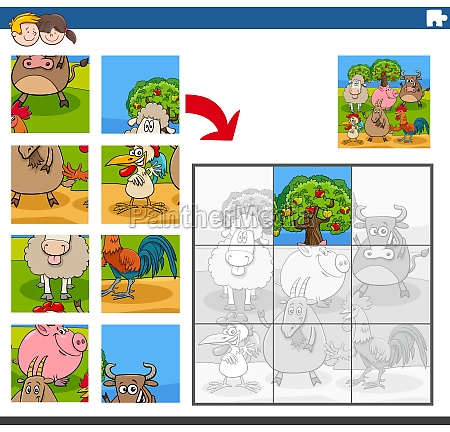 jigsaw puzzle game with comic farm