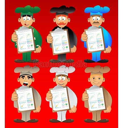 chef in uniform shows finance report