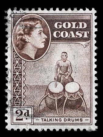 stamp printed in ghana shows talking