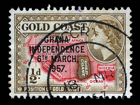 stamp printed in ghana shows location
