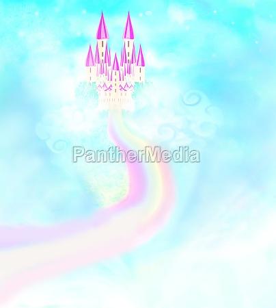 magic fairy tale castle in clouds