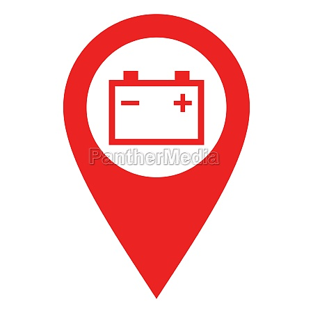 car battery and location pin