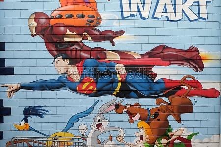 superman graffiti wall mural comic book