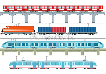 set of modern passenger trains subway