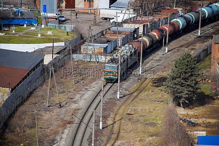freight train traveling through the city