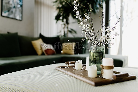 home interior relaxing candles apple tree