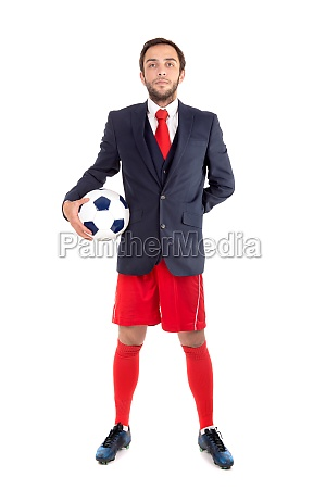 happy businessman with football