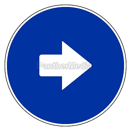 right arrow and blue sign