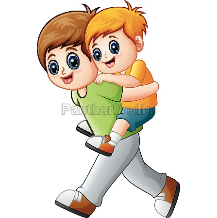big brother doing piggyback ride to