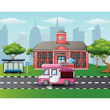 city skyline background with ice cream