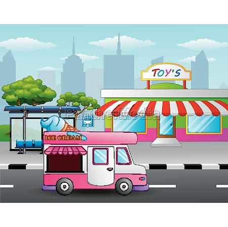 ice cream truck in front of