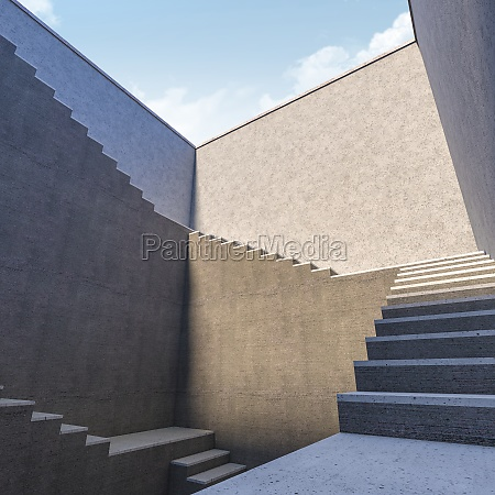 3d rendering abstract stairs in concrete