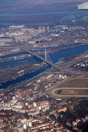 aerial view of belgrade capital of