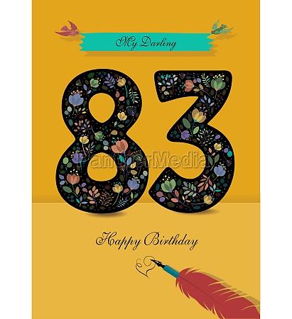 floral number 83 birthday card inkpen