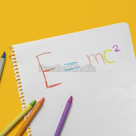 emc2 formula on paper and colorful