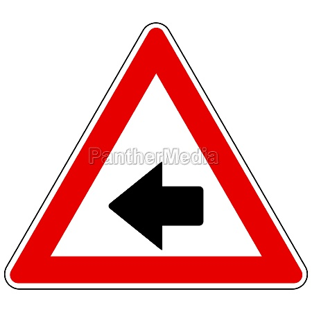 left arrow and attention sign