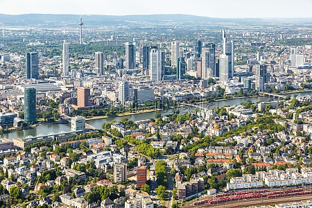 frankfurt skyline aerial photo city main