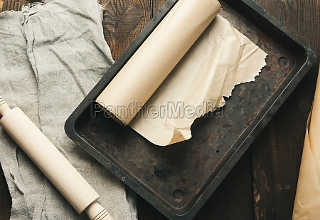 empty rectangular metal pan covered with