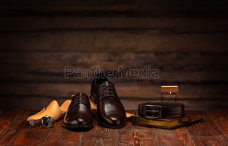 still life with mens leather shoes