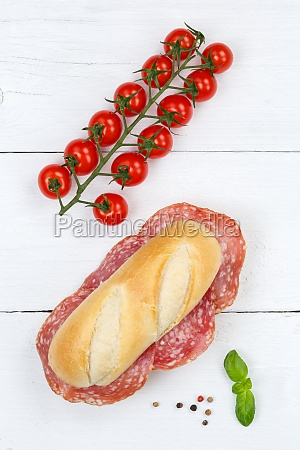 sub sandwich with salami portrait format
