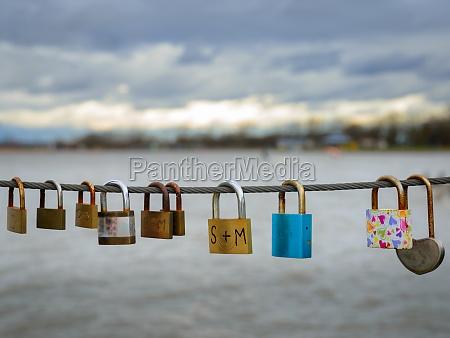 romance locks padlocks on a wire