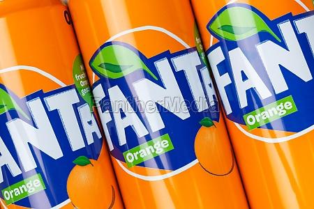 fanta orange lemonade soft drink in