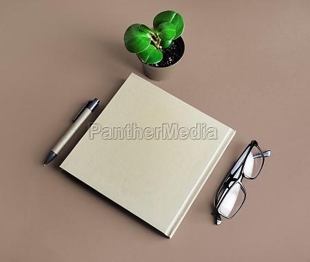 brochure glasses pen plant