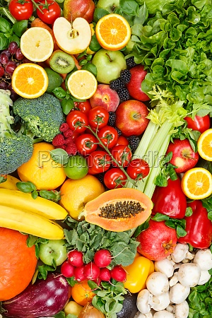 background food fruits and vegetables collection