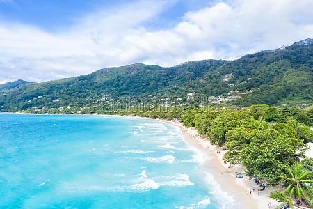 beach sea ocean landscape seychelles copyspace