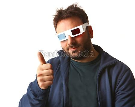 man wearing 3d glasses
