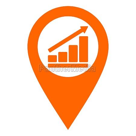 bar chart and location pin