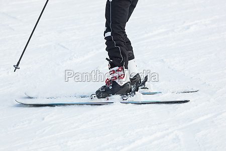 male skier skiing in fresh snow