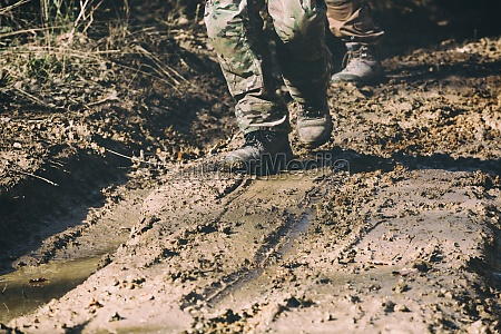 brown military boots