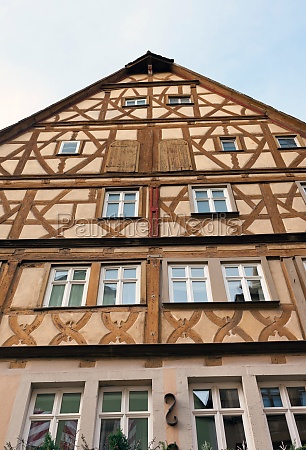 traditional half timbered house in rothenburg