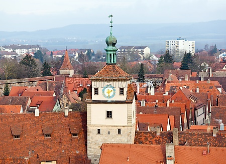 historic tower in rothenburg ob der