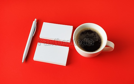 business cards coffee pen