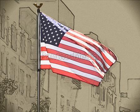 drawing of usa flag