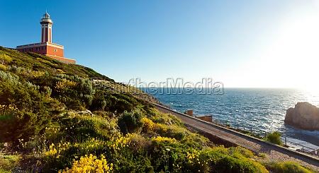 lighthouse of capri island italy europe
