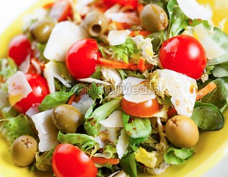 mixed salad on black slate