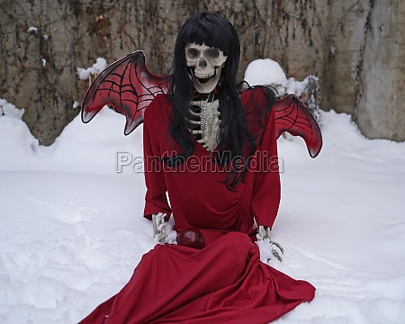 devil bride skeleton with red dress
