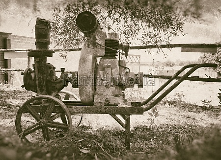 old rusty engine for irrigation