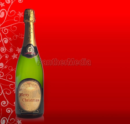 bottle of champagne with label merry