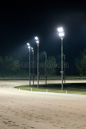 horse race track at night